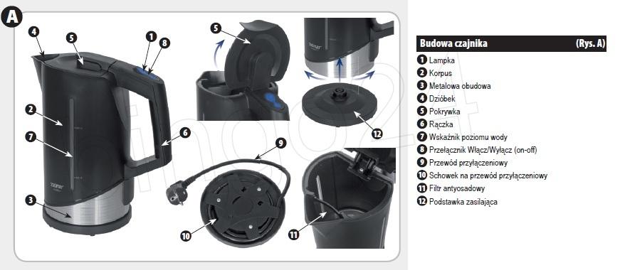 Чайник ZELMER 432 black  - sekiller